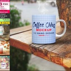 Coffee Mug 11oz Photoshop Print Mockup M3 Png White Right Etsy
