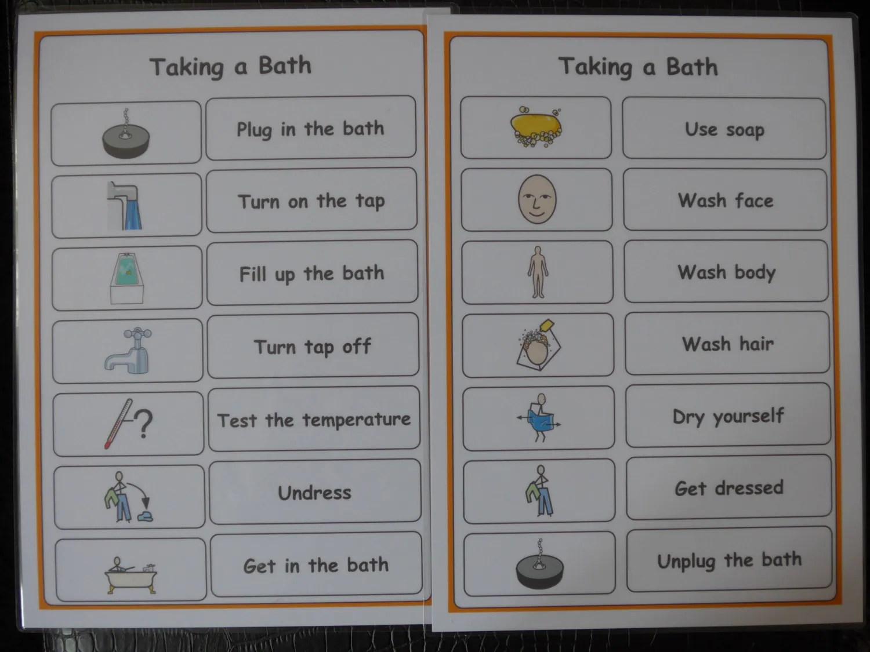 Taking A Bath Hygiene Checklist Support Aid For