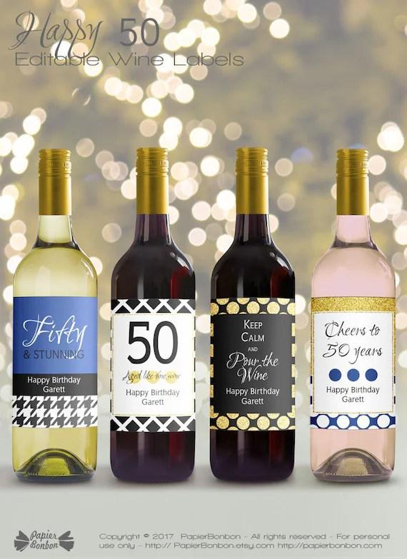 Wine Bottle Label Size : bottle, label, Editable, Bottle, Labels, Birthday, Printable, Black