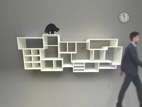 hangende boekenkast verstelbare planken naar behoefte aan