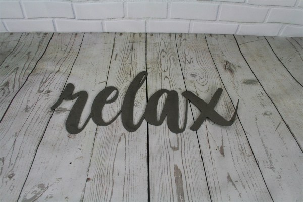 Relax Script Metal Sign Word Art