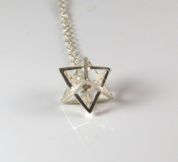 Sterling Silver Merkaba Necklace 3d Star Of