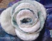 White Angora Felted Rose ...