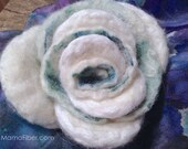 White Angora Felted Rose ...