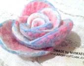 Frosty Pink Rose brooch -...