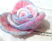 Frosty Pink Rose brooch -...