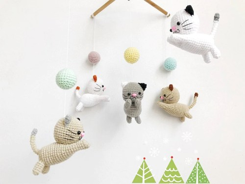 Crochet Baby Mobile Meow Meow Kitten Cat baby mobileCat image 0