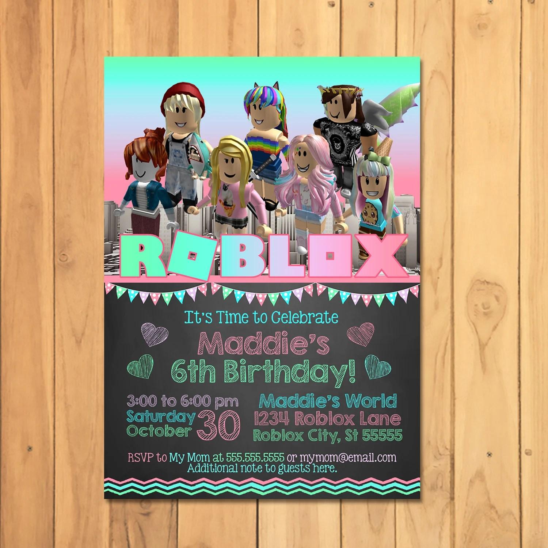 girl roblox invitation pink roblox birthday party roblox party printables roblox invite roblox party roblox video game 100926