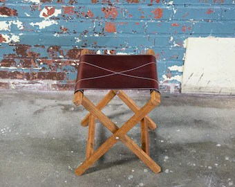 wood camp chair huge folding etsy wooden with leather stool