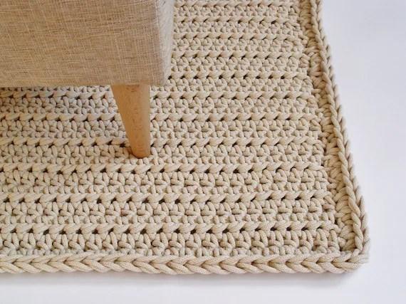 ecri cordon en coton tapis rectangulaire tapis au crochet tapis au crochet tapis tricote tapis tricote maison deco meubles decoration de