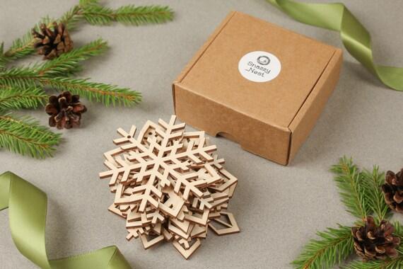 Set of 12 Wooden Snowflakes