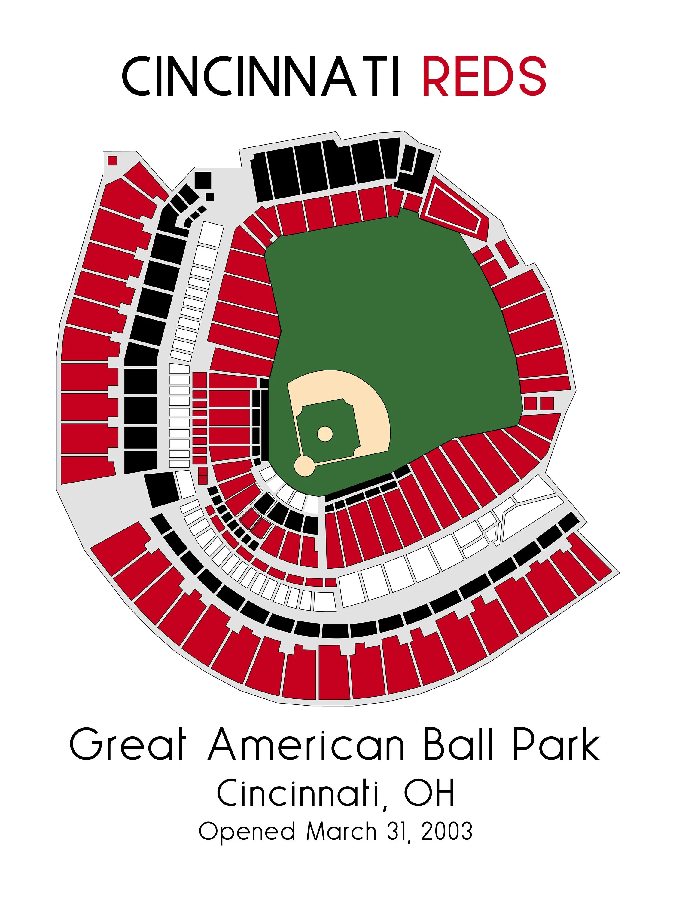 Reds Stadium Seating Chart : stadium, seating, chart, Cincinnati, Stadium, Ballpark, Baseball
