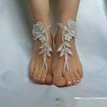 Ivory Silver Frame Barefeet Beach Wedding Country