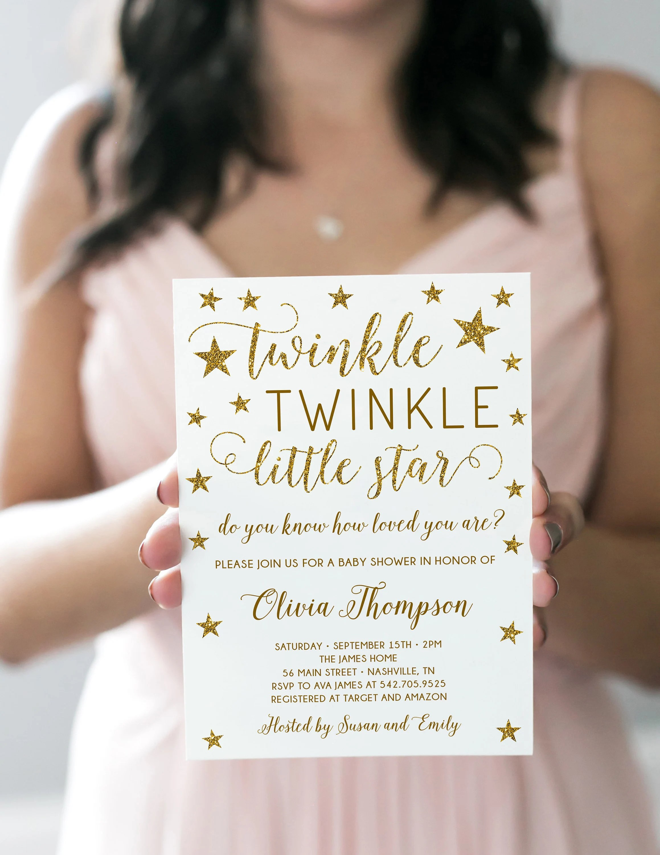 Twinkle Twinkle Little Star Baby Shower Invitation Wording : twinkle, little, shower, invitation, wording, Twinkle, Little, Shower, Invitation, Template,, Editable,, Glitter,, Gender, Neutral, Invitation,, Instant, Download, Party, Catch
