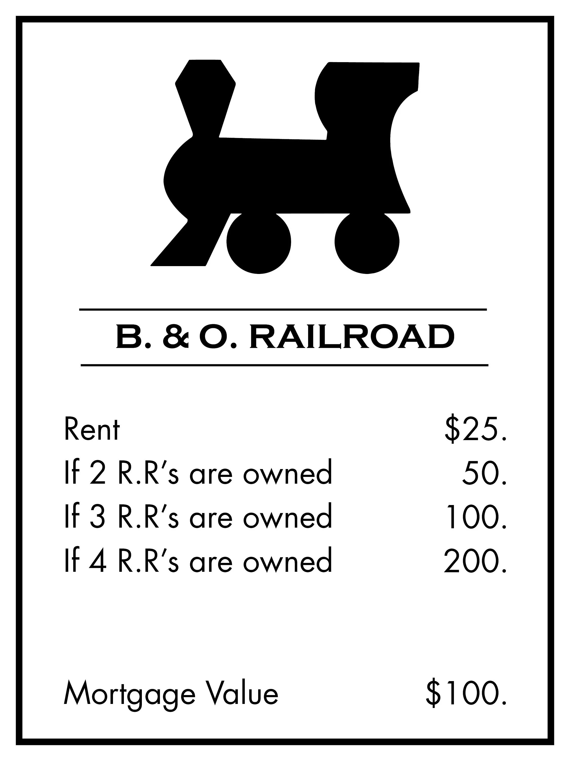 Monopoly Title Deed Poster B&O Railroad Sized at 18x24 ALL