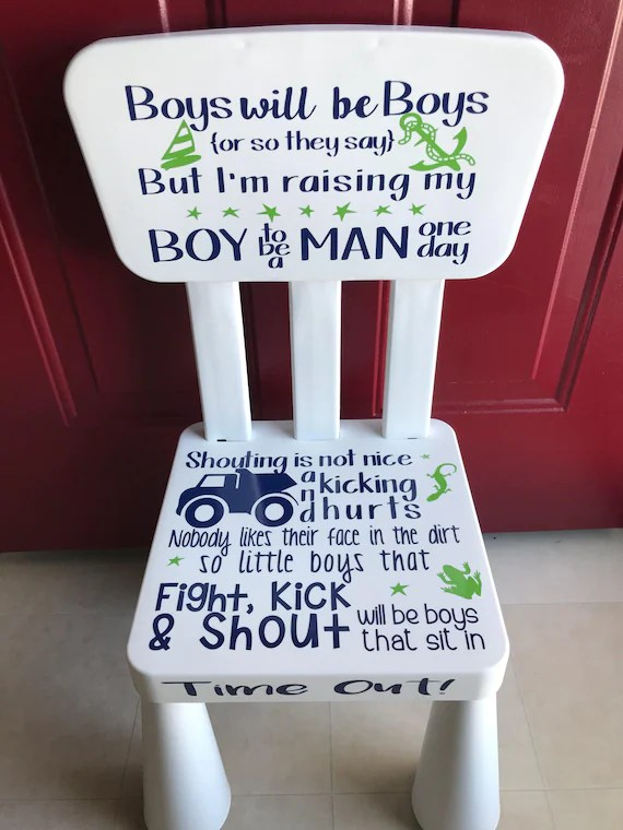 little boy chairs shabby chic kitchen table and time out chair boys kids etsy image 0