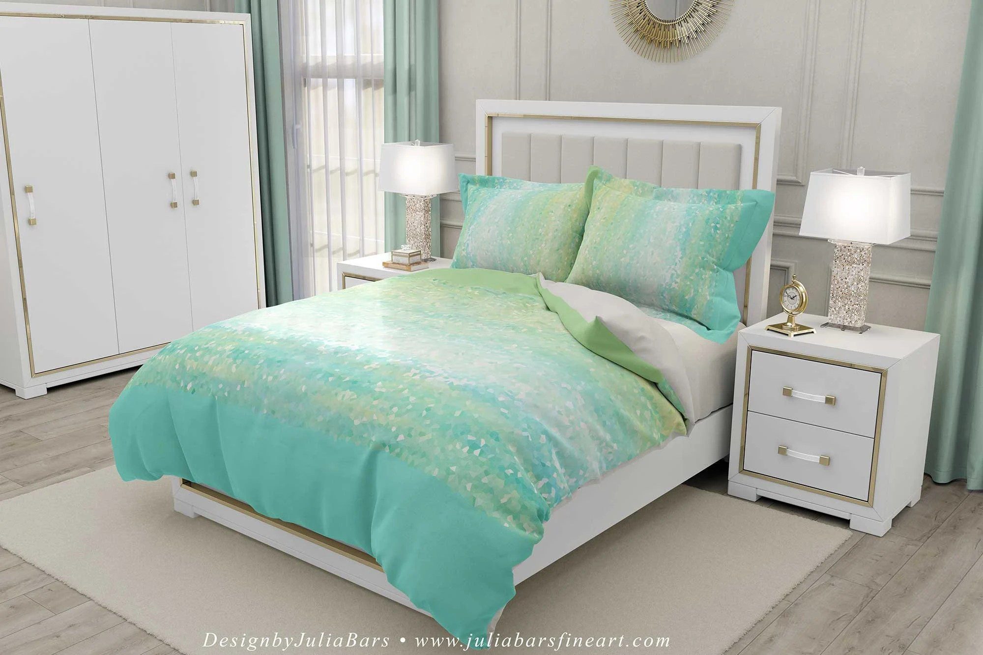 mint green duvet cover pillow cases seafoam aqua blue abstract coastal bedding pillow shams beach life bedroom decor king queen twin