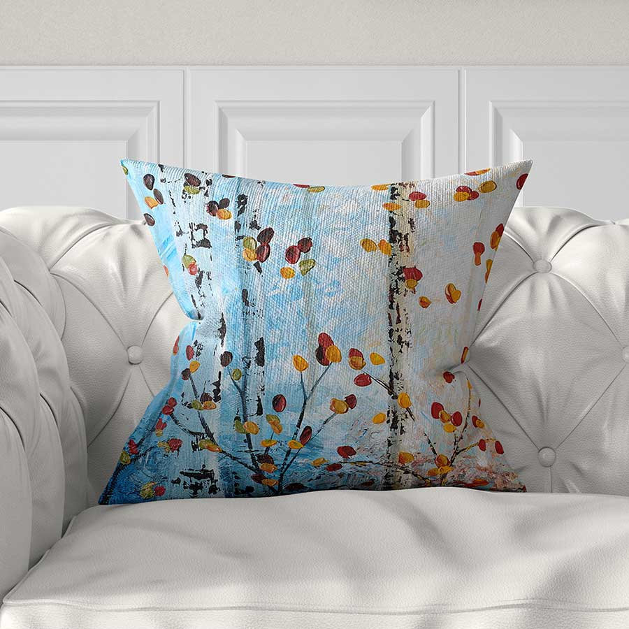 Blue Throw Pillow Cover Tree Pillow Red Yellow Blue
