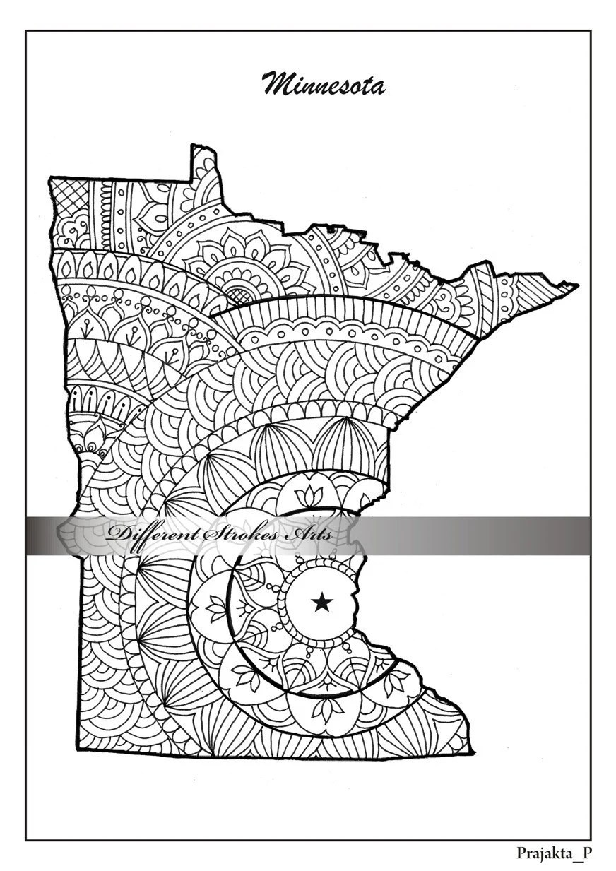 Minnesota decorative map coloring pages for adults