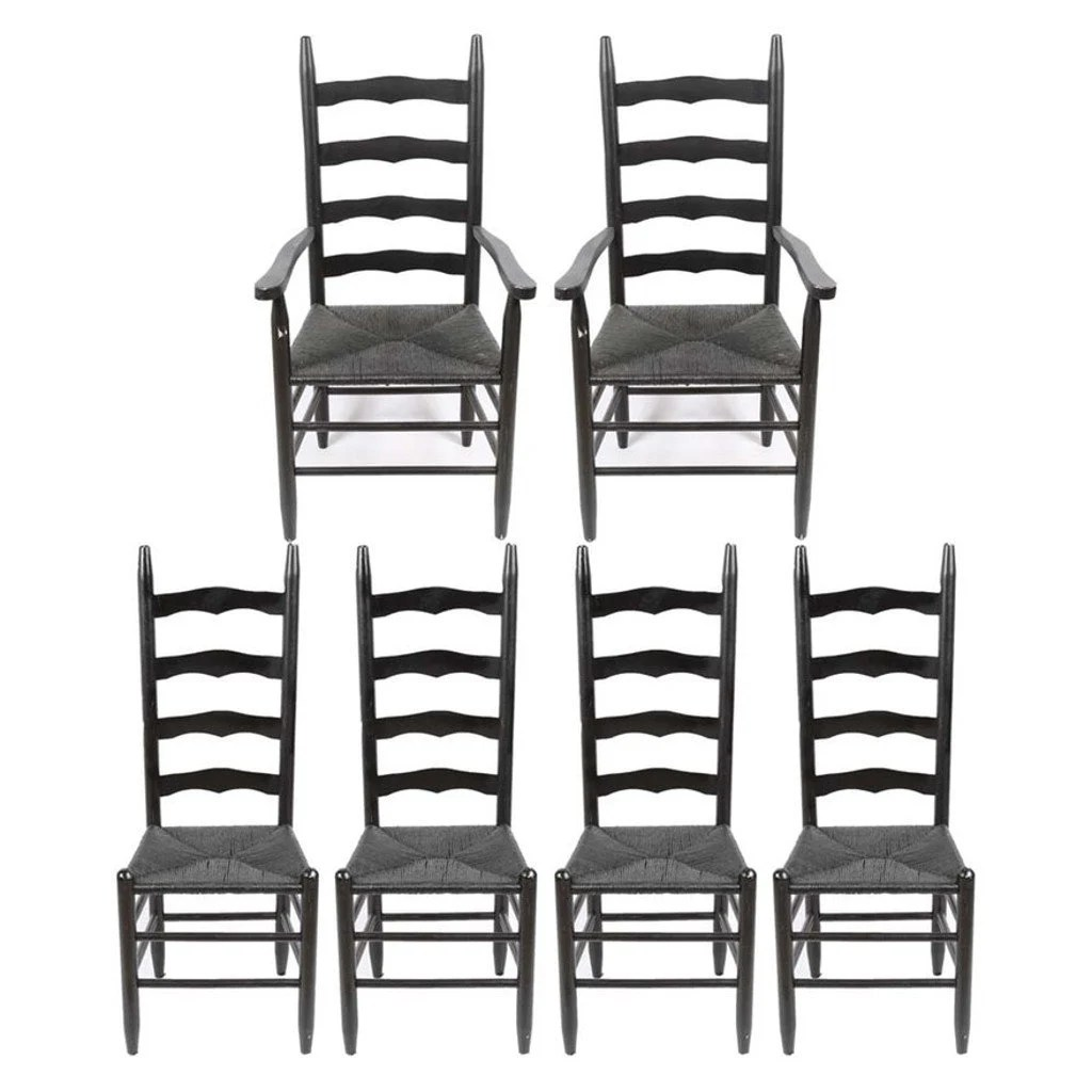 white ladder back chairs rush seats chair cover rentals in chicago seat etsy vintage country farmhouse set of 6 painted rustic colonial dining