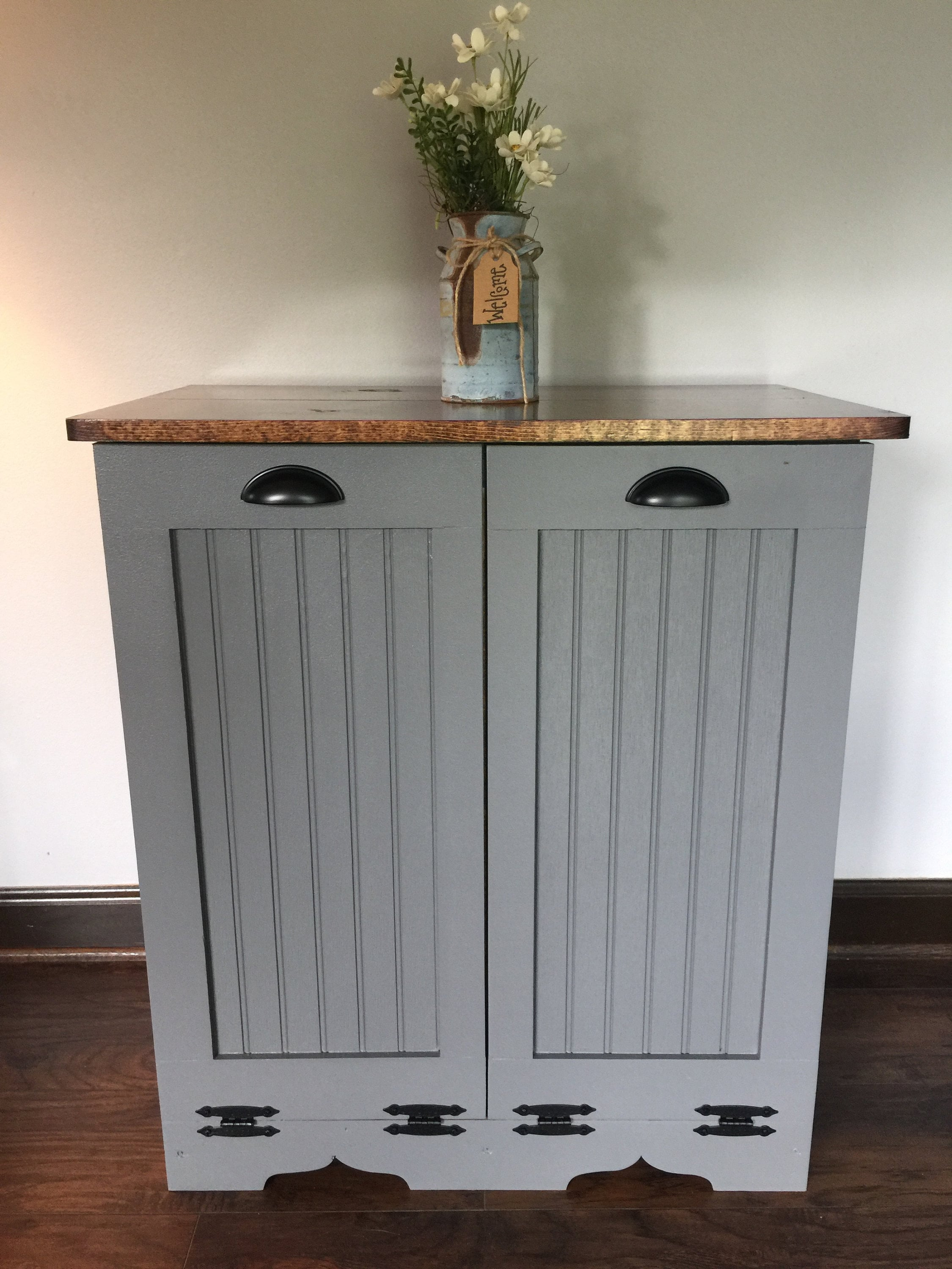 Double Trash Bin Tilt Out Door Wood Trash Recycle Bin  Etsy