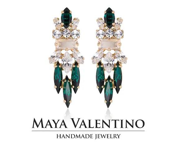 Bridal Emerald Earrings Swarovski Earrings Gold earring