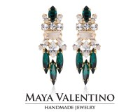 Bridal Emerald Earrings Swarovski Earrings Gold earring