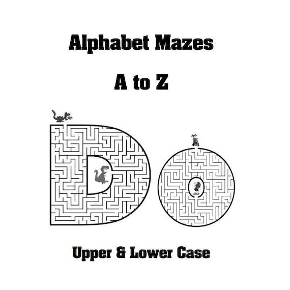 Alphabet Mazes Educational Puzzles PDF Instant Download