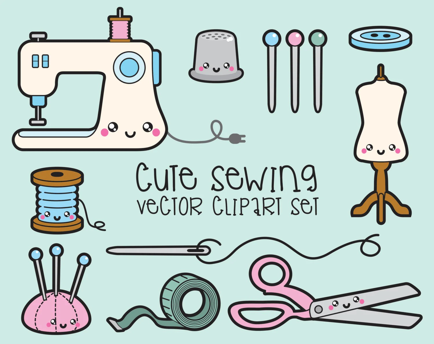 hight resolution of 50 premium vector clipart kawaii sewing