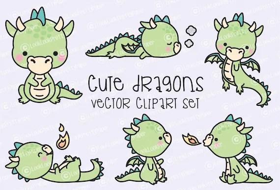 Premium Vector Clipart Kawaii Dragon Cute Baby Dragons Etsy