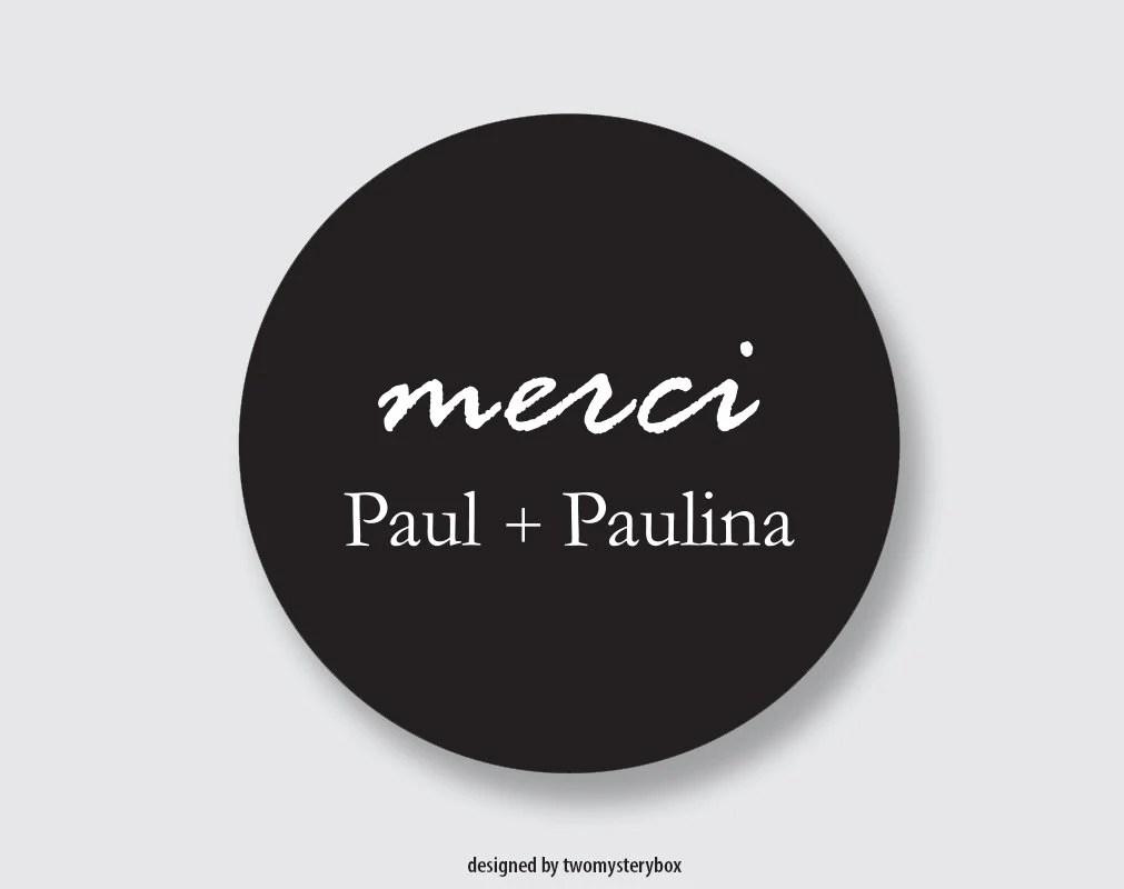 customized stickers round black