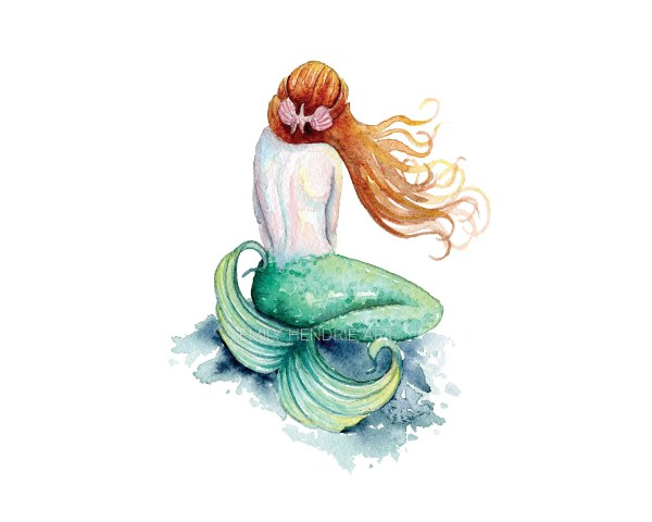 Mermaid Art Watercolor Rock