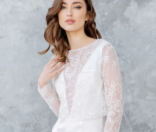 Lace Wedding Top Bridal Separates Lace Top For Bride Wedding Separates Topper Bridal Cover Up Long Sleeves Top Open Back Topper Lukne
