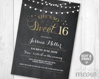 sweet 16 invite etsy