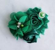 green hair clip flower girl