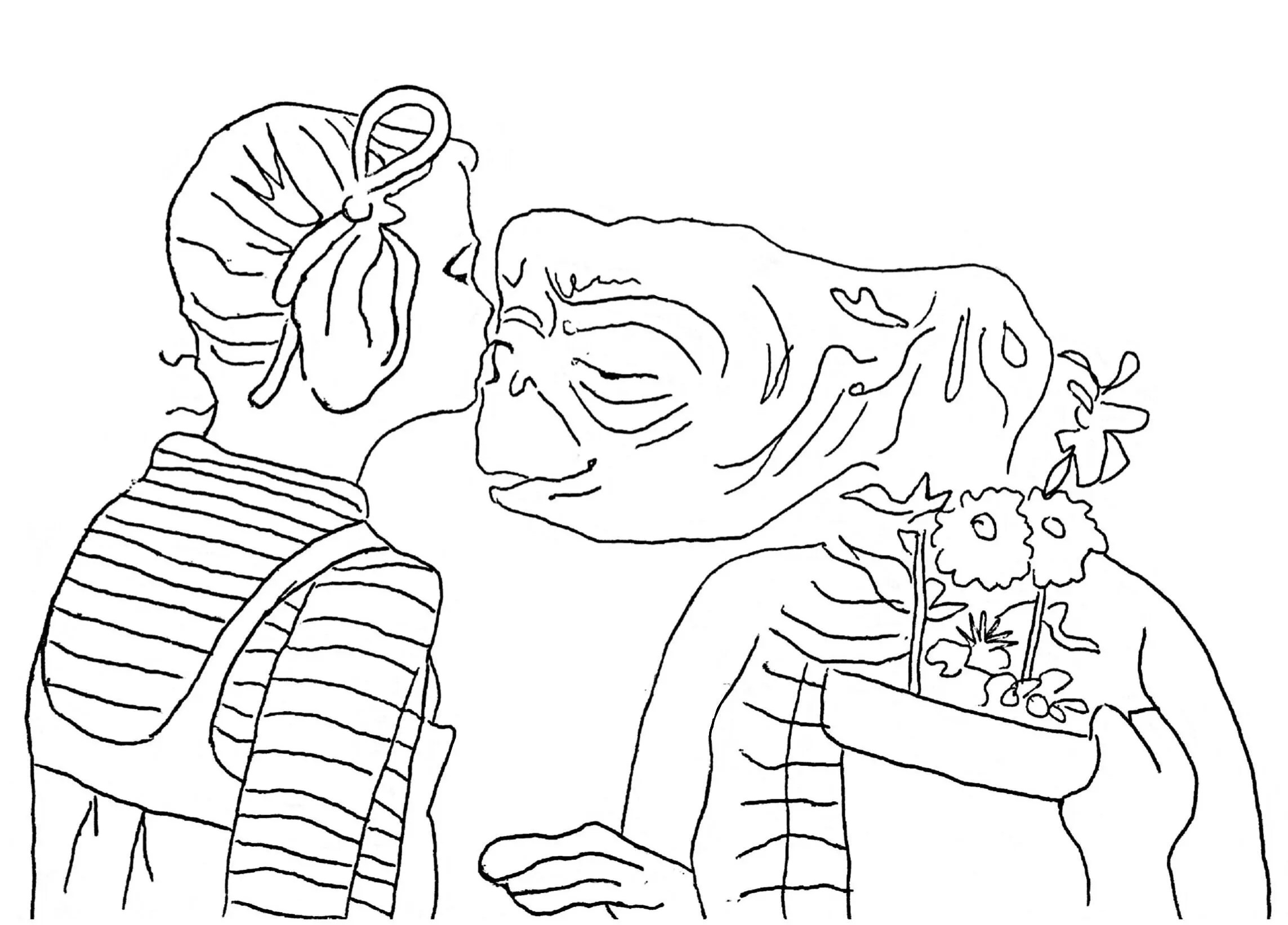 ET the extra terrestrial movie drawing ET and Gertie black