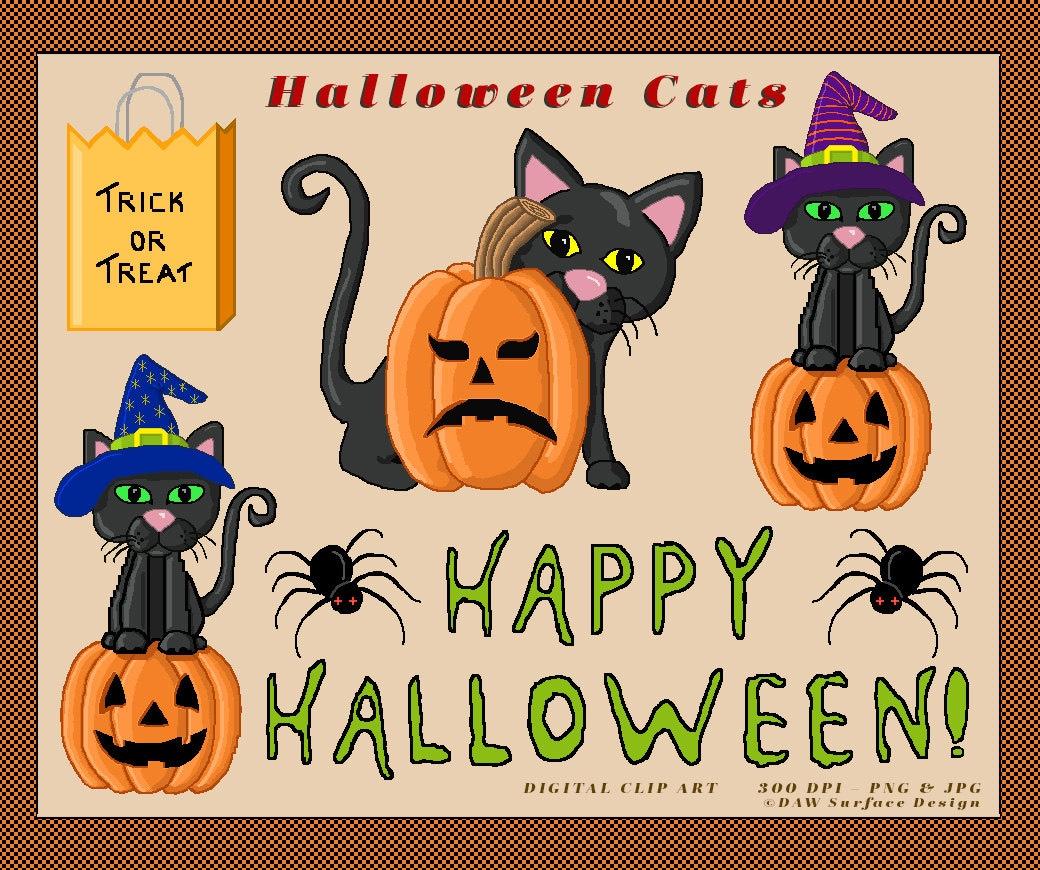 Halloween Cats Digital Clipart Instant Download