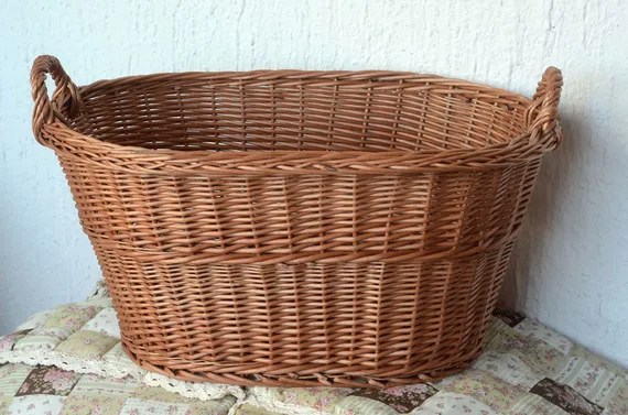 Large Wicker Laundry Basket Big Laundry Basket Handled Oval Etsy