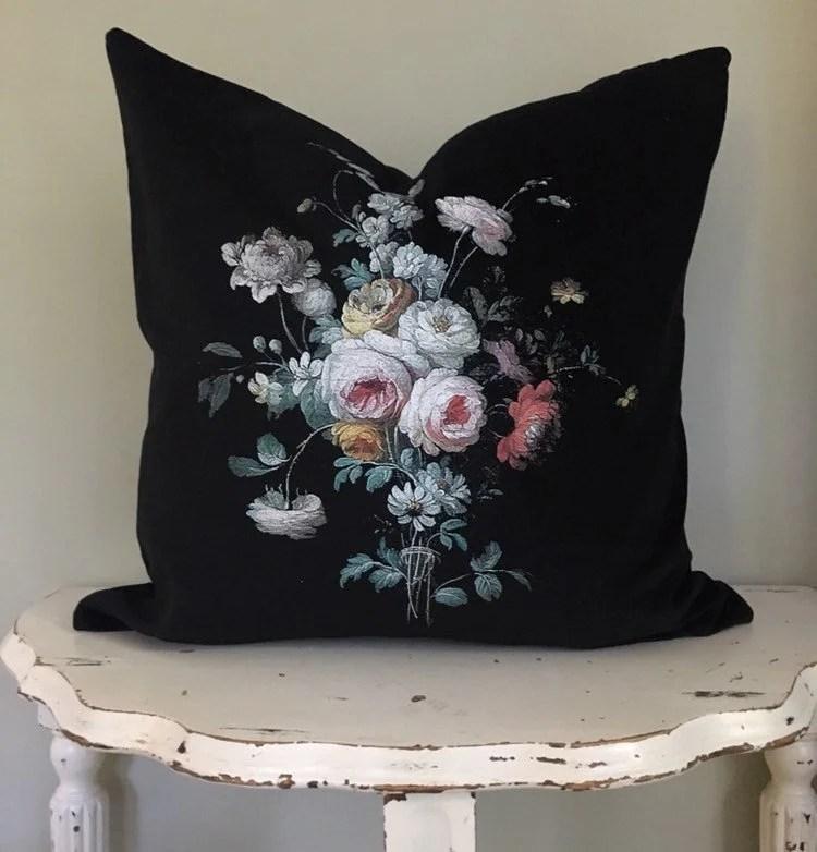 floral velvet pillow etsy