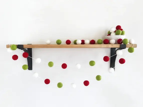Green Red White Felt Garland