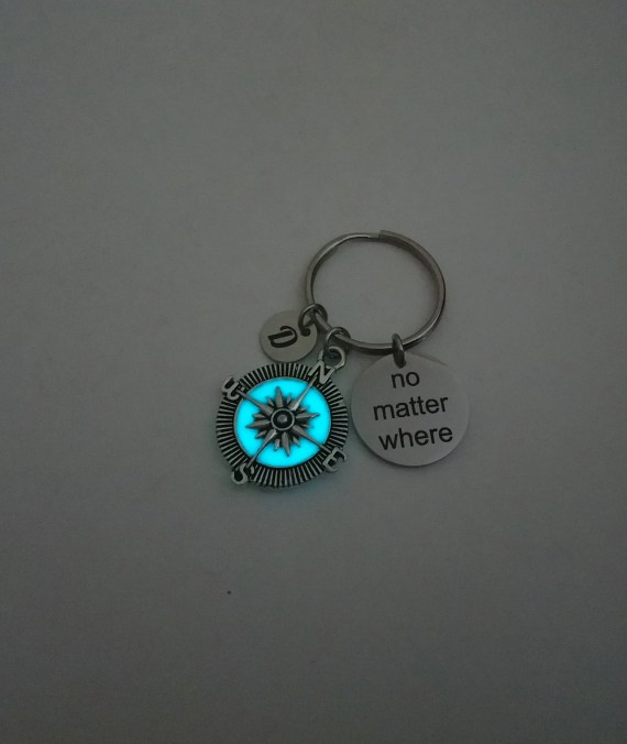 No Matter Where Personalized Keyrings, Glow in the Dark Compass Charm Keyrings