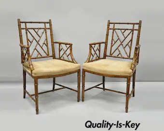 chinese chippendale chairs uk back pack beach chair etsy pair faux bamboo fretwork armchairs hollywood regency