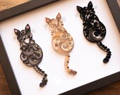 Triple Original Quilled Scrollwork Cats   Made-to-Order