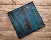 Abstract Blue Black Gold Cellular Swipe Fluid Acrylic Pour Painting