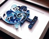 Already Made Blue Side Scroll H Monogram | Paper Quilled Letter H Monogram | Lettering | Surname | Initial