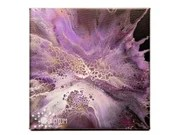 Abstract Dramatic Purple Gold White Blossom Fluid Acrylic Pour Painting