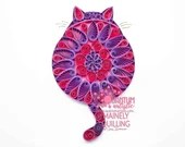 Pink & Purple Paper Quilled Mandala Fat Cat 5x7