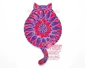 Pink & Purple Paper Quilled Mandala Fat Cat 5x7
