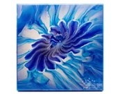 Metallic Blue Flower Acrylic Pour Painting
