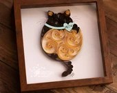 XL Fat Cat | Paper Quilled Scrollwork Fat Cat 9x9 | Made-to-Order